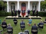 Америка президенти доналд трамп ақсарай һойлисида өткүзгән ахбарат елан қилиш йиғинида сөзлимәктә. 2020-Йили 29-май, вашингтон.