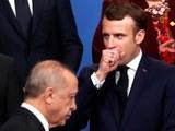 فىرانسىيە پرېزىدېنتى ئېممانۇئېل ماكرون(Emmanuel Macron) ناتو باشلىقلار يىغىنىدا تۈركىيە پرېزىدېنتى رەجەپ تاييىپ ئەردوغان بىلەن. 2019-يىلى 4-دېكابىر، ئەنگلىيە.
