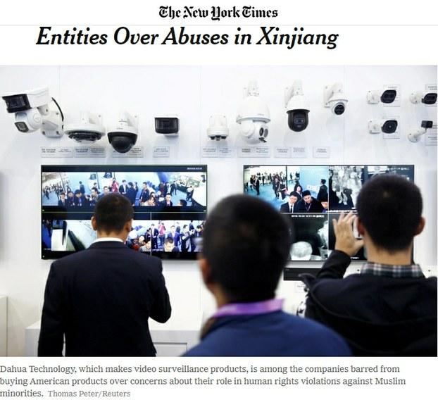 «The New York Times» گېزىتىدە ئېلان قىلىنغان ئامېرىكانىڭ ئۇيغۇر دىيارىدىكى 28 ئورگاننى قارا تىزىملىككە كىرگۈزگەنلىكى ھەققىدىكى خەۋىرى. 2019-يىلى 7-ئۆكتەبىر.