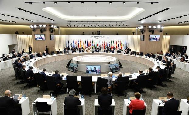 «G-20 ئالىي دەرىجىلىكلەر ئۇچرىشىشى يىغىنى» دىن كۆرۈنۈش. 2019-يىلى 29-ئىيۇن، ئوساكا، ياپونىيە.