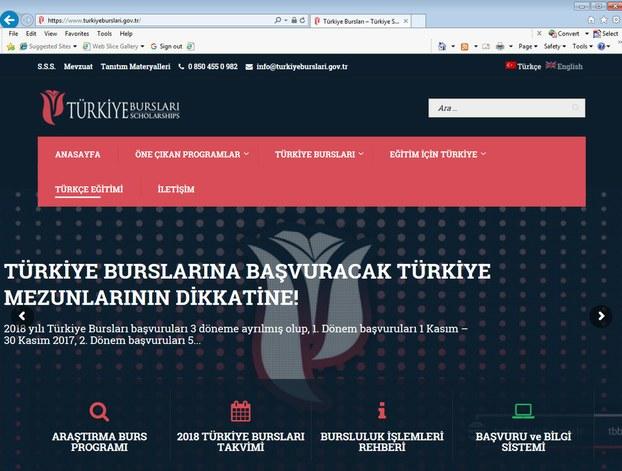 https://www.turkiyeburslari.gov.tr تور سەھىپىسىدە ئېلان قىلىنغان ئۇقتۇرۇشتىن سۈرەتكە ئېلىنغان. 2018-يىلى 11-يانۋار.