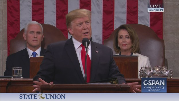 ئامېرىكا پرېزىدېنتى دونالد ترامپ دۆلەت ۋەزىيىتى بويىچە مەلۇمات بېرىش مۇراسىمىدا نۇتۇق سۆزلىمەكتە. 2020-يىلى 4-فېۋرال. ۋاشىنگتون د.س.، ئامېرىكا.