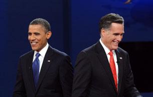 ئامېرىكا پرېزىدېنت نامزاتلىرىنىڭ تۇنجى قېتىملىق تېلېۋىزىيە مۇنازىرىسىدە پرېزىدېنت ئوباما ۋە مىت رومنېي. 2012-يىلى 3-ئۆكتەبىر.