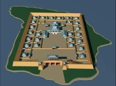 رۇسىيە فېدېراتسىيەسىنىڭ تۇۋا جۇمھۇرىيىتىدىكى تېرەكۆل رايونىغا جايلاشقان ئورخۇن ئۇيغۇر خانلىقىغا تەئەللۇق پورباجىن قەلئەسى(Por-Bazhyn) نىڭ ئارخېئولوگىيەلىك ئىزلار نەتىجىسىگە ئاساسەن ئىشلەنگەن 3D كۆرۈنۈشى. 2008-يىلى 13-نويابىر